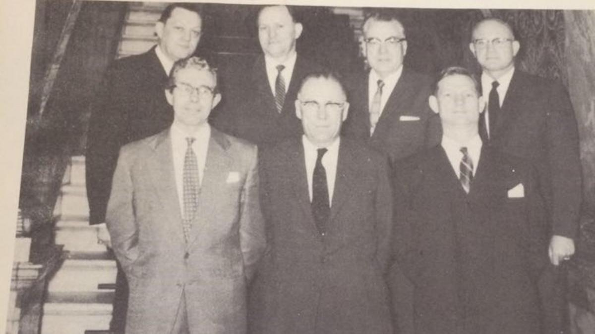 Back row: (L – R) Pres. T. Bowring Woodbury, Pres. Alvin R. Dyer, Elder Harold B. Lee, Pres. Bernard Brockbank. Front row: New Manchester Stake Presidency – (L – R) Dennis Livesey, Robert G. Larsen, William E. Bates. Courtesy of Sue Kurezcko