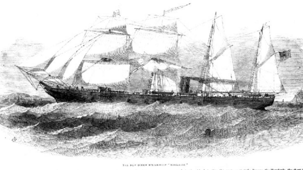 A screwship steamer, c. 1852