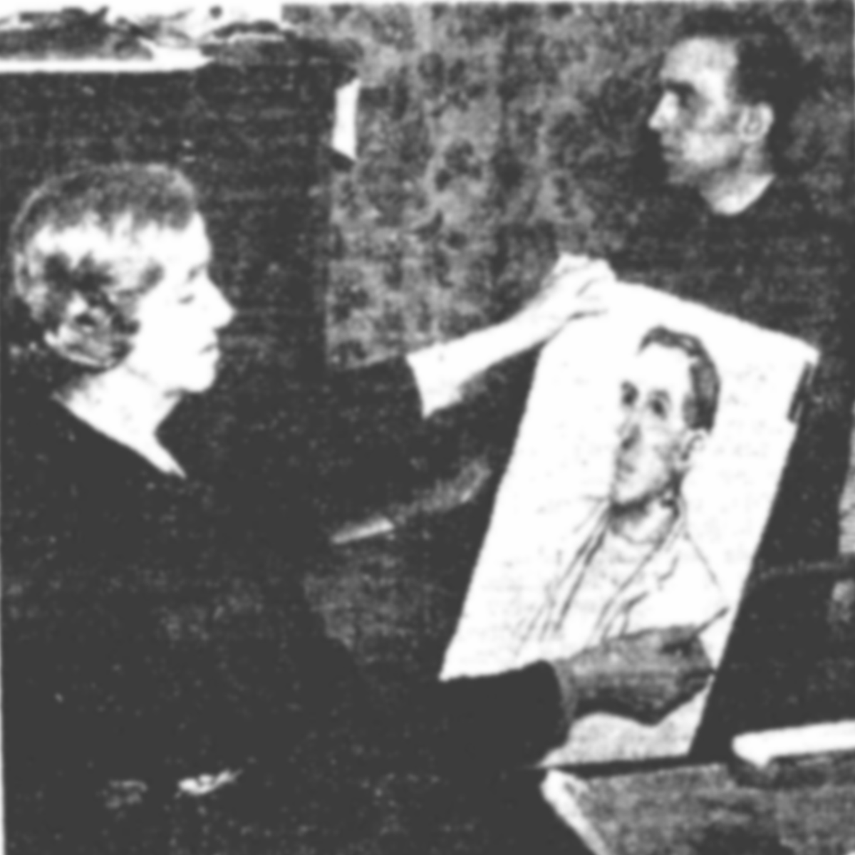 Photograph of Kathleen Shackleton sketching Albert Short
