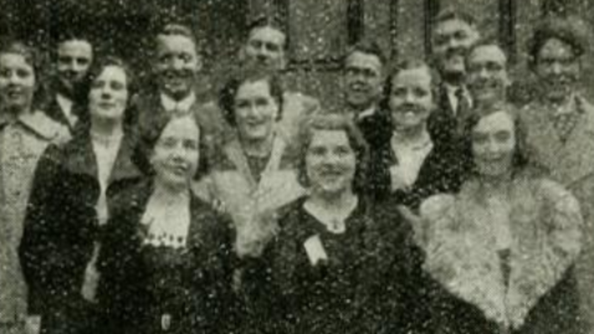 Catherine Horner, middle row, far left. Photograph taken by Claudius Stevenson at the British Mission MIA Conference, held at Kidderminster in 1935