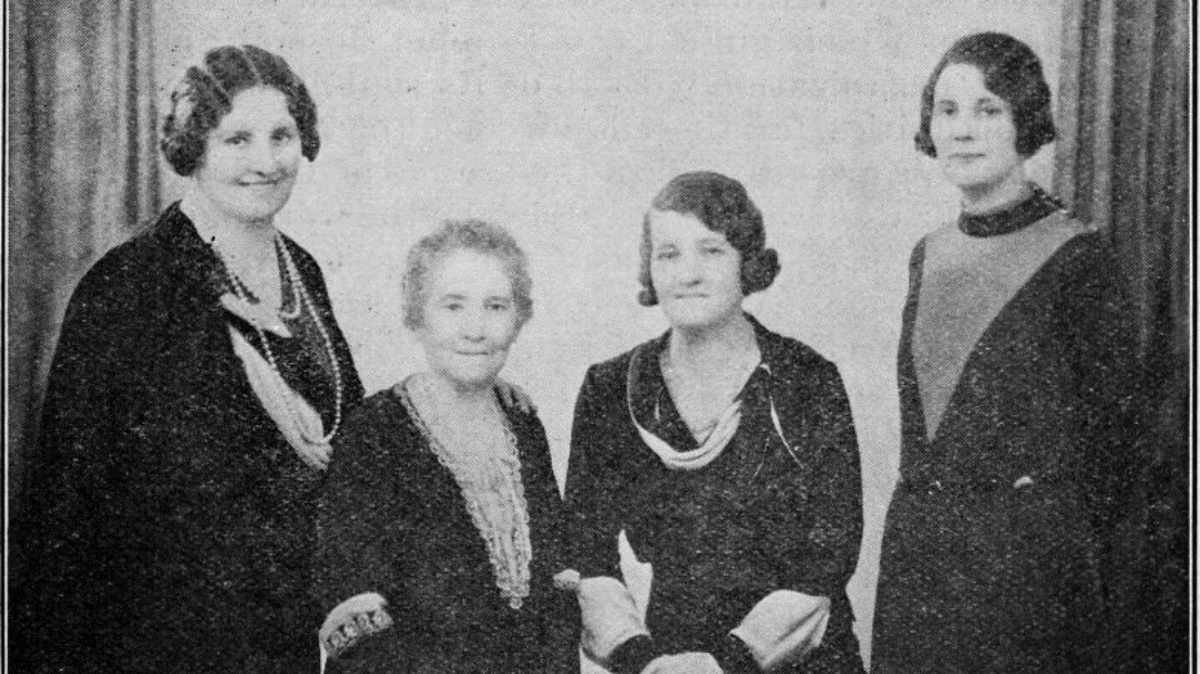 Catherine Horner, far right, British Mission Relief Society Presidency Secretary, c. March 1933