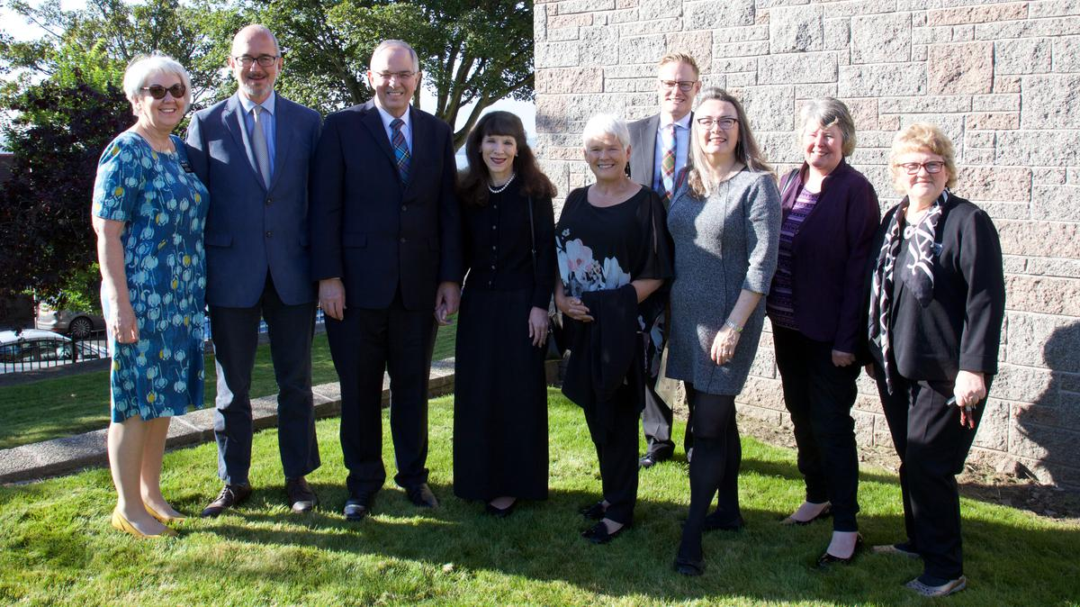 Evelyn Liston (MSDPAC - Multi-Stake Director of Public Affairs and Communications - for Scotland), Richard Lucas (leader of the Scottish Family Party), Elder and Sister Anderson, Dr Maureen Sier (Director of Interfaith Scotland), Elder Karl Hirst, Carrie Varjavandi (multi-faith chaplain at Dundee University), local councillor Alice McGarry, and Anne Edwards (assistant MSDPAC).