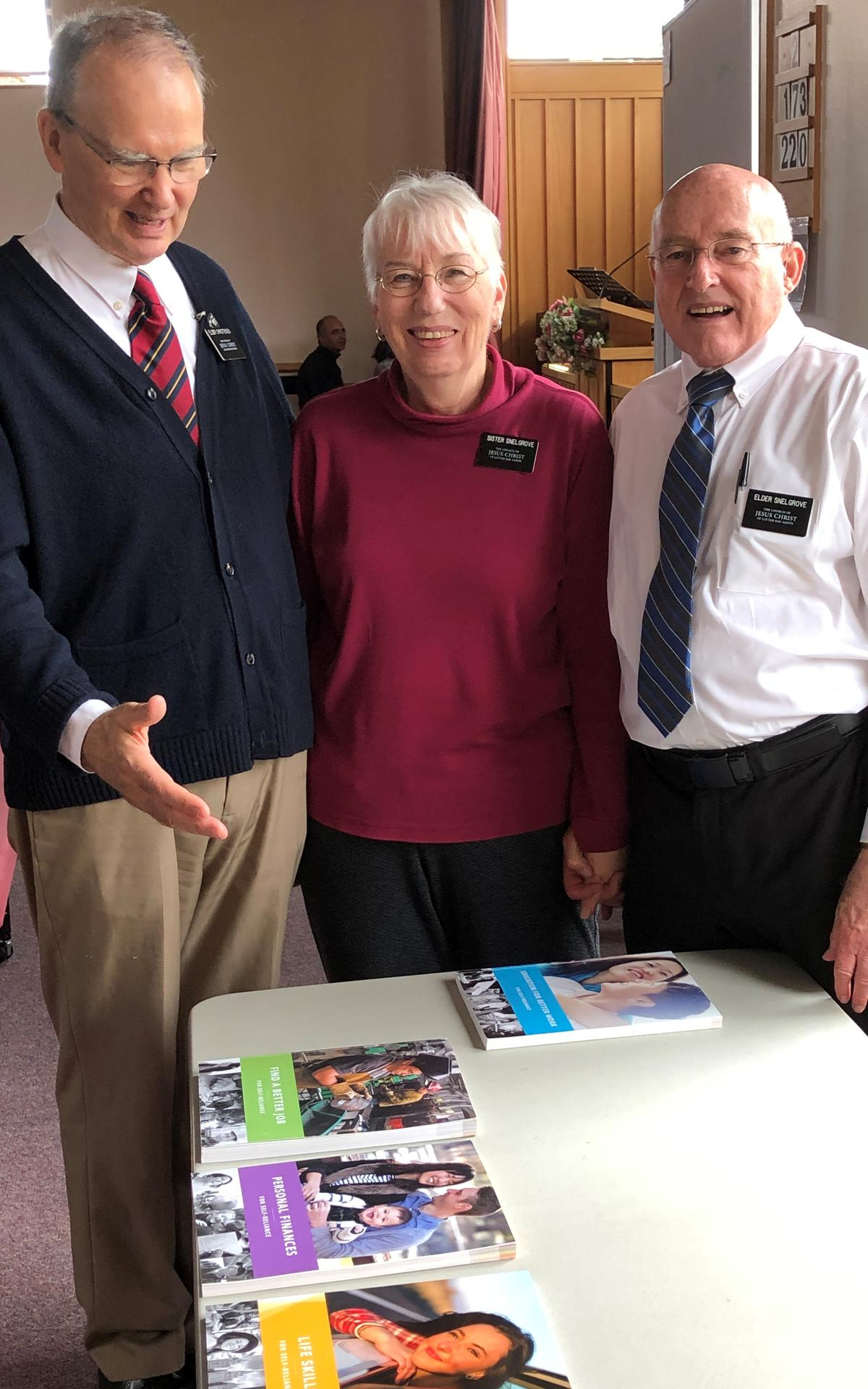 Elder Christensen from Peckham Friendship Centre, Sister and Elder Snelgrove, Self-Reliance Senior Missionaries