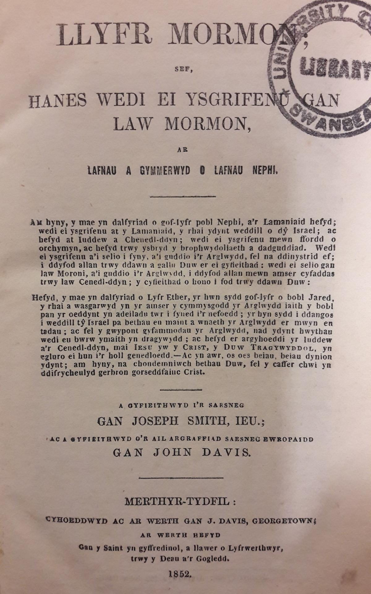 Welsh Book of Mormon