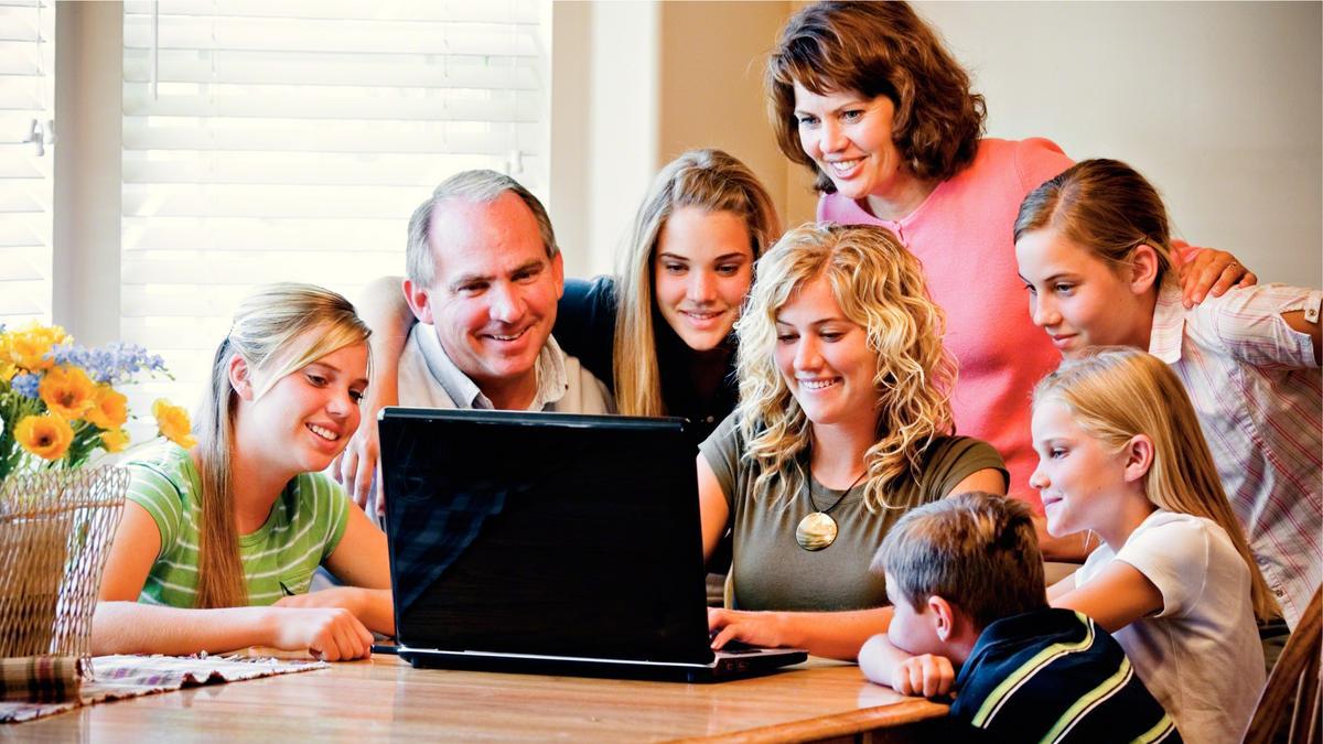 Family around computer