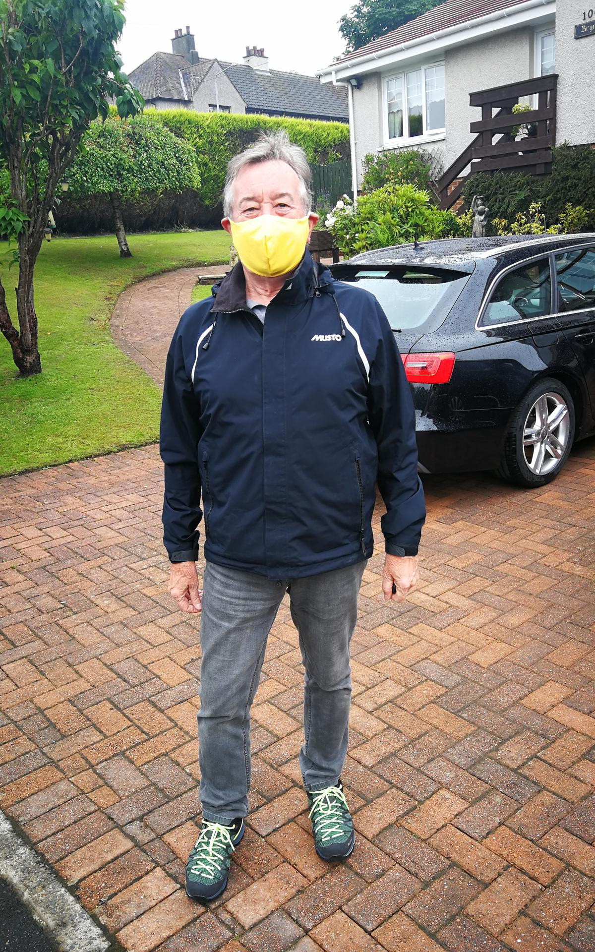 Volunteer Wearing a Mask