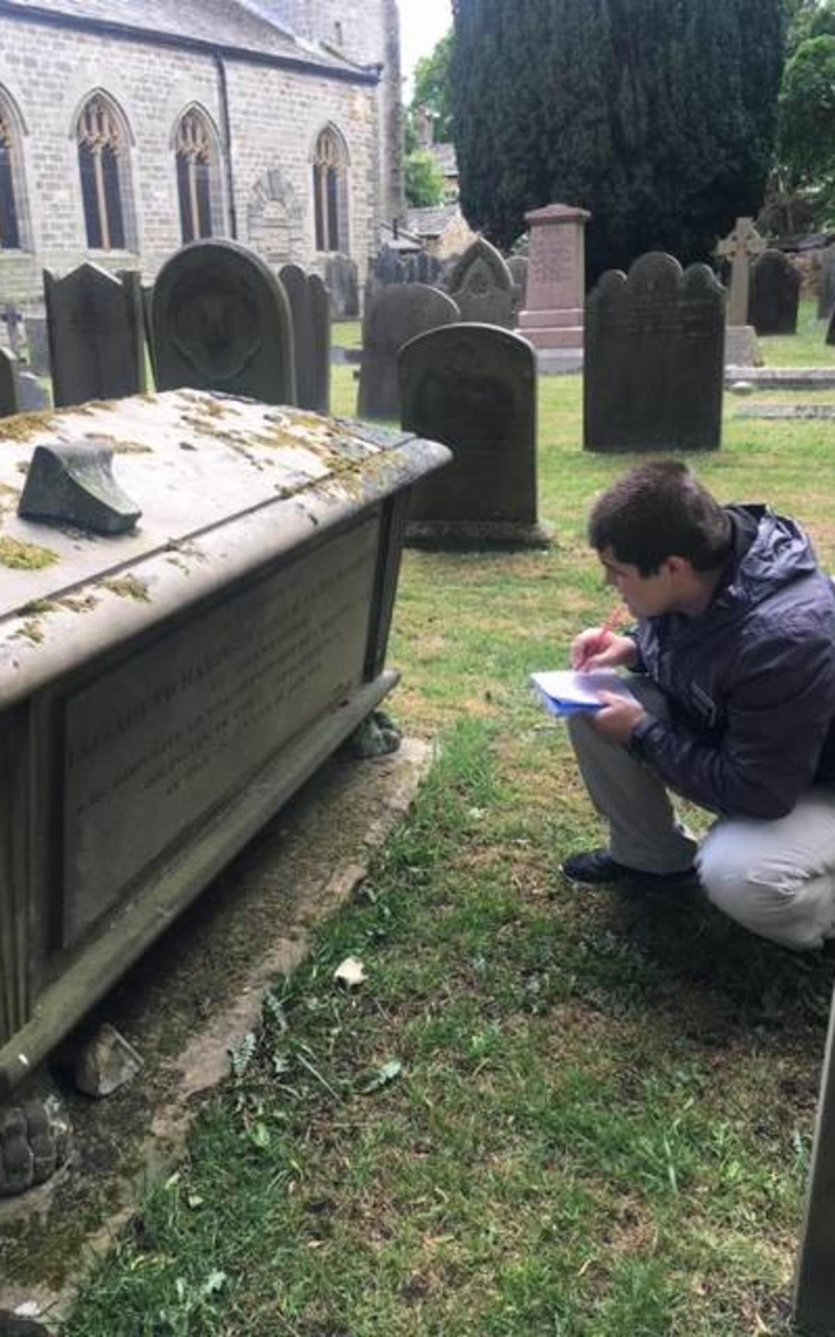Elder Mahaffey record information on gravestone