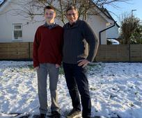Preston Flake with his former seminary teacher, Matthew Wad