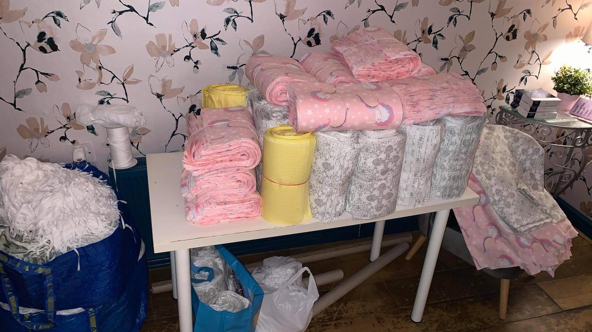 Pile of finished hygiene packs