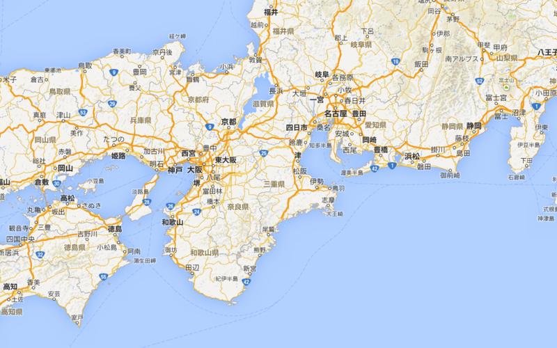 東海と近畿地方の集会場を探す