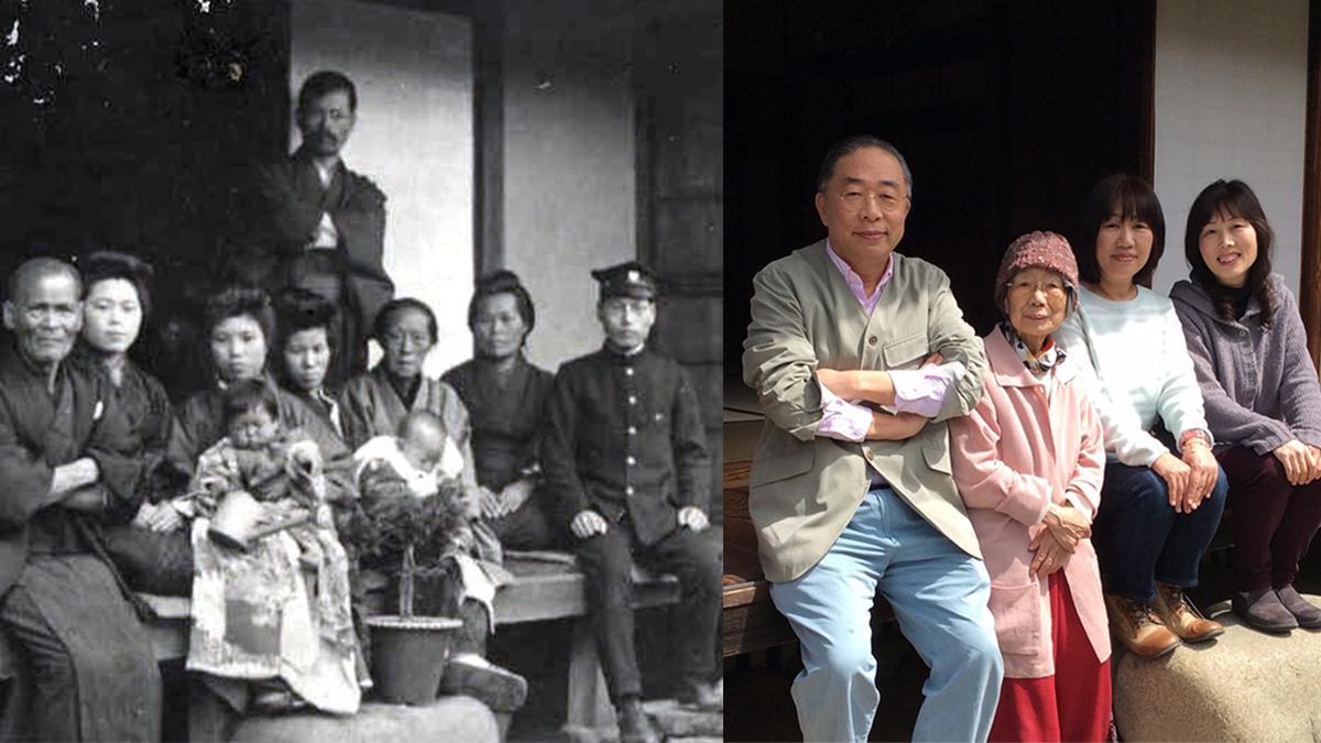 좌 이마이 형제의 외가 조상인 와타나베 토우베라는 무사의 생가, 조상들의 사진. 가운데 있는 아기가 이마이 형제의 할머니인 오오지마 치에코. / 우 왼쪽 사진과 같은 장소에서 선조들과 같은 포즈로 사진을 찍은 이마이 형제의 가족들.