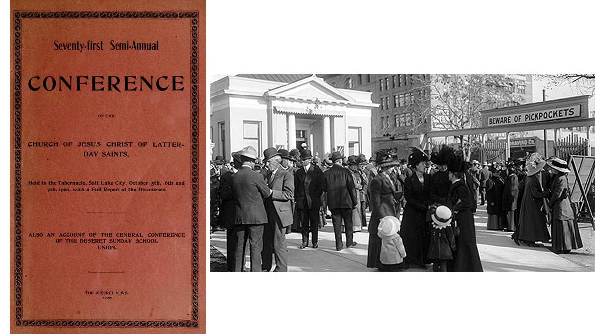 좌: 제71차 반연차 대회 보고 (1900년 10월), 우: 연차 대회를 위해 모인 성도들, 1911년 4월 대회