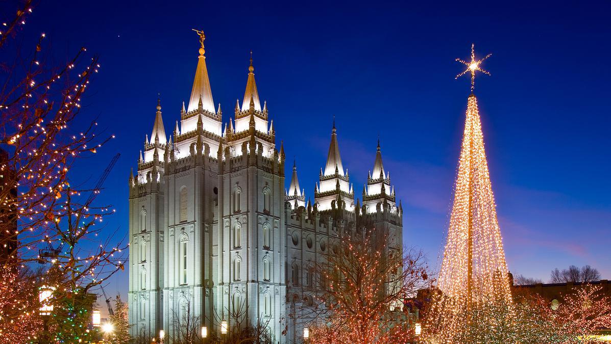 Luces navideñas en la Manzana del Templo de Salt Lake
