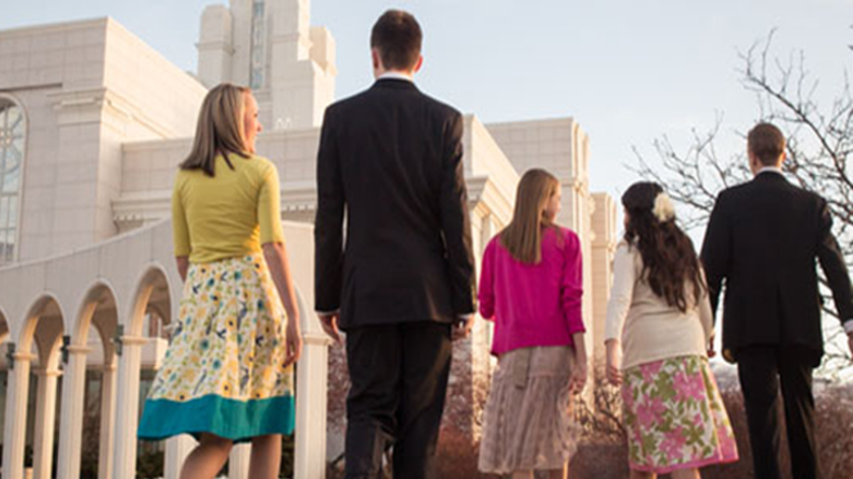 Young men and women walking on the temple grounds