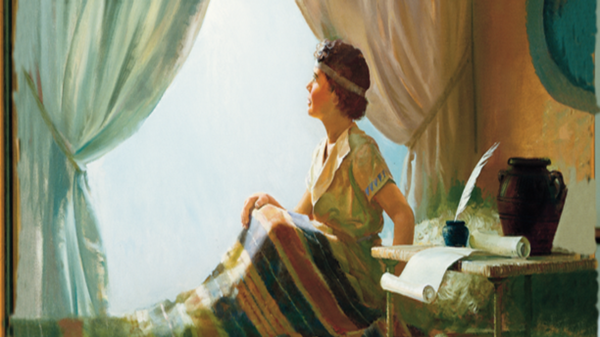 Nephi looking toward the sky in his bedroom listening to the Voice of The Lord