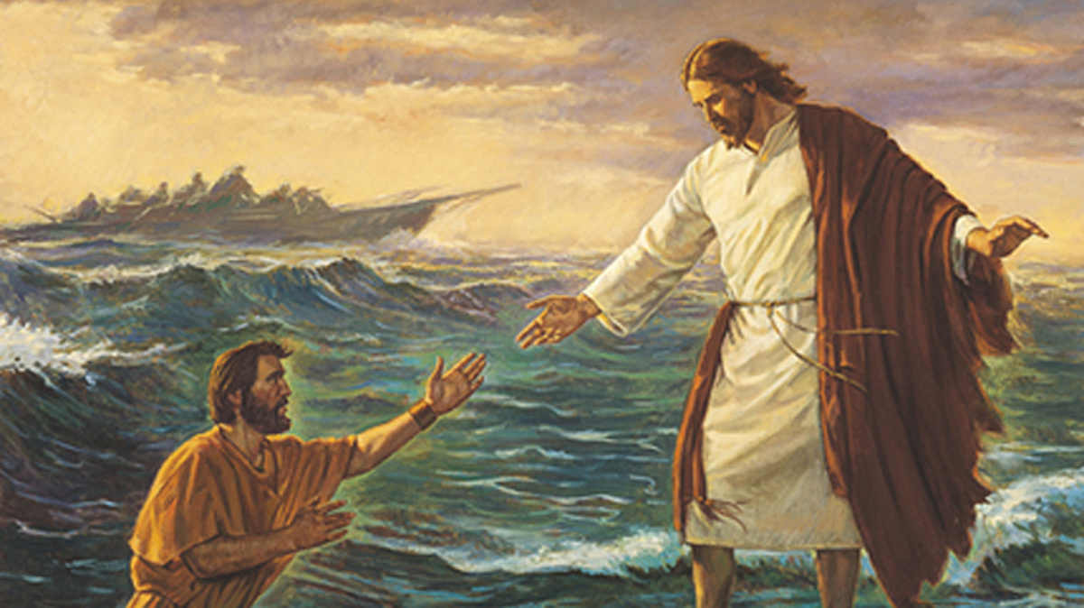 Jesus lifting Peter out of the water as he was walking towards Jesus