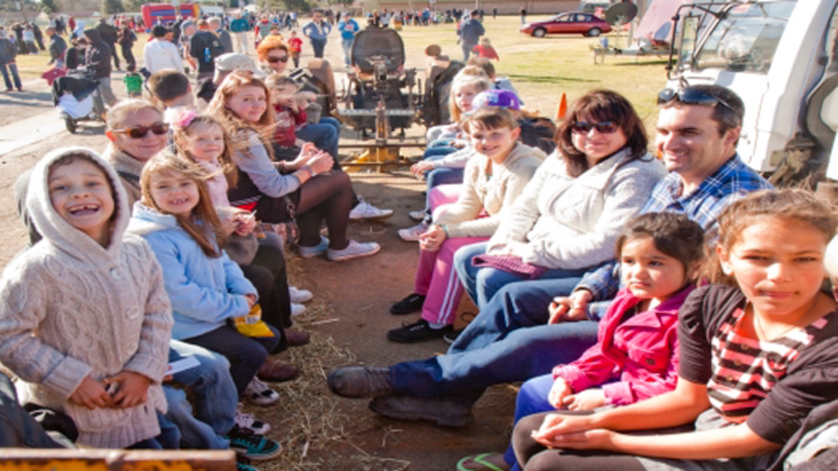 Member of Newcastle Stake gathered together for the Stake Country Fair