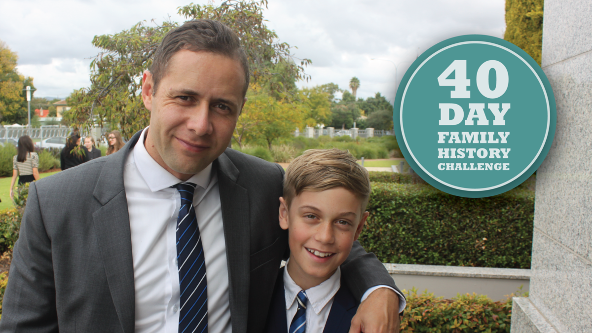 Father and son outside the temple after accepting the family history challenge