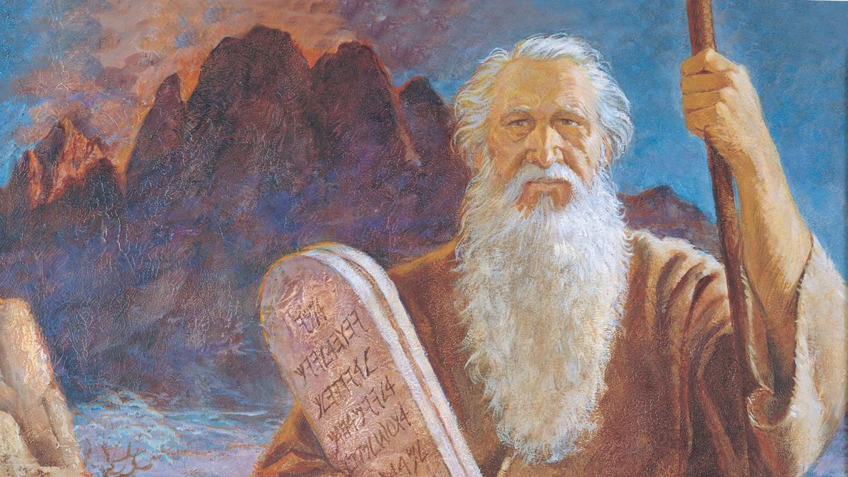 Moses with the Ten Commandments coming off of Mount Sinai.
