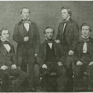 June 1857. Left to right: Joseph Bull, David H. Cannon, George Q. Cannon, William H. Shearman, Matthew F. Wilkie. (Church History Library, Salt Lake City. Photograph by Robert H. Vance.)