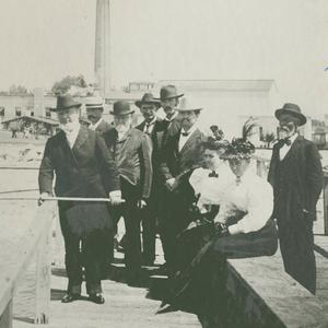 August 1896. George Q. Cannon is standing with a fishing pole in the front left. Wilford Woodruff is standing behind him in the black bowler hat. Carlie Cannon and Emma Smith Woodruff are seated. Others unknown. (Church History Library, Salt Lake City.)
