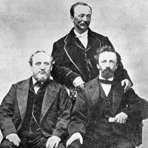 Circa 1870. Left to right: George Q. Cannon, David H. Cannon, Angus M. Cannon. (Used by Permission, Utah State Historical Society, Salt Lake City.)