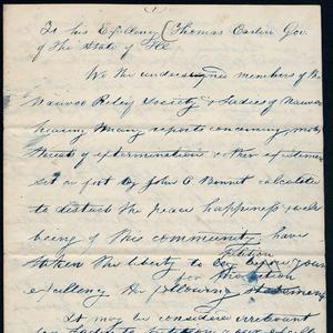One thousand Nauvoo Relief Society members signed a petition requesting that Illinois governor Thomas Carlin not extradite Joseph Smith to Missouri for trial. (Church History Library, Salt Lake City.)