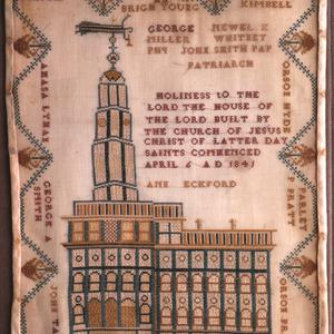This cross-stitch by Ann Eckford circa 1846 celebrates the completed Nauvoo temple. (Church History Museum, Salt Lake City.)