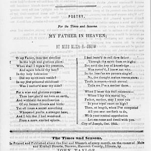 """Eliza Snow's best-known hymn text, later titled """"O My Father,"""" was first published in the church newspaper <i>Times and Seasons.</i> (Church History Library, Salt Lake City.)"""