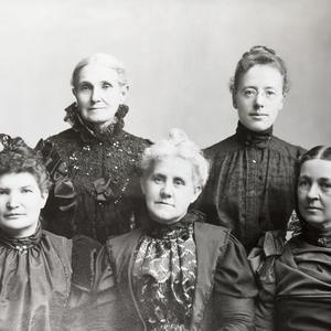 Aurelia Spencer Rogers (rear left) first expressed the idea of establishing a church organization for children. She is seen here with (clockwise from Rogers) May Anderson, Josephine R. West, Louie B. Felt, and Lillie T. Freeze. (Courtesy International Society Daughters of Utah Pioneers, Salt Lake City.)