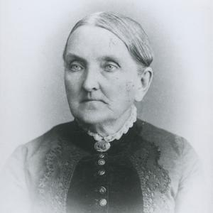Circa 1889. Widowed at the age of thirty-six, Belinda Pratt earned a living taking in boarders and teaching school. Her diary made frequent reference to the developing Relief Society organization.  Photograph by Fox and Symons. (Church History Library, Salt Lake City.)