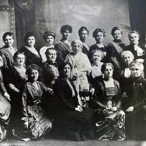 President Emmeline B. Wells (standing in the center of the photograph), with the Relief Society general presidency and board. Photograph by the Johnson studio. (PH 2466, Church History Library, Salt Lake City.)