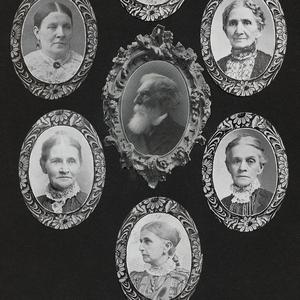 Photomosaic of Daniel H. Wells, center, and six of his wives. Clockwise from top center: Louisa Free, Hannah Corilla Free, Lydia Ann Alley, Emmeline B. Woodward, Susan Hannah Alley, and Martha Givens Harris. (PH 5101, Church History Library, Salt Lake City.)