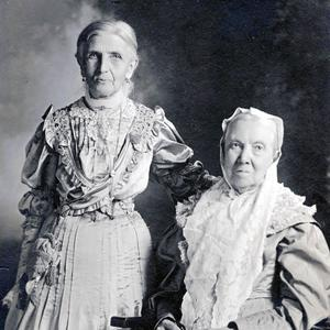 Bathsheba W. Smith (seated) was the fourth general president of the Relief Society. Emmeline B. Wells was the fifth general president. Photograph by studio of Olsen and Griffith. (PH 1700 2881, Church History Library, Salt Lake City.)