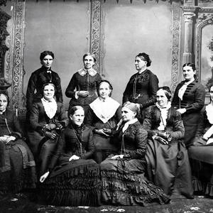 Emmeline B. Wells, seated, front right, with the Deseret Hospital Board of Directors. Wells was appointed secretary of the board in 1882. Photograph by Charles R. Savage. (PH 2300, Church History Library, Salt Lake City.)