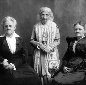 Left to right: Louie B. Felt, Primary Association general president; Emmeline B. Wells, Relief Society general president; and Martha H. Tingey, Young Ladies' Mutual Improvement Association general president. Photograph by the Thomas studio. (PH 2354, Church History Library, Salt Lake City.)