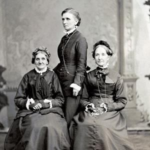 Left to right: Elizabeth Ann Whitney, Emmeline B. Wells, and Eliza R. Snow. Photograph by Charles R. Savage. (PH 892, Church History Library, Salt Lake City.)