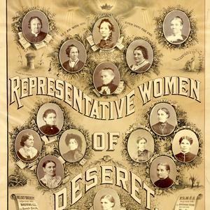 Lithograph with montage of portraits of prominent Latter-day Saint women, including many leaders of the Relief Society, Primary, and Young Ladies' Mutual Improvement Association. Compiled by Augusta Joyce Crocheron, 1883. (PH 2657, Church History Library, Salt Lake City.)