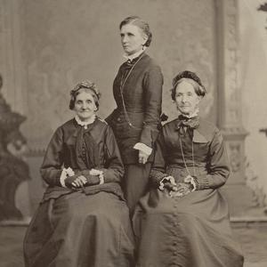 Left to right: Elizabeth Ann Whitney, Emmeline B. Wells, and Eliza R. Snow. Photograph by Charles R. Savage, circa 1876. (PH 892, Church History Library, Salt Lake City.)