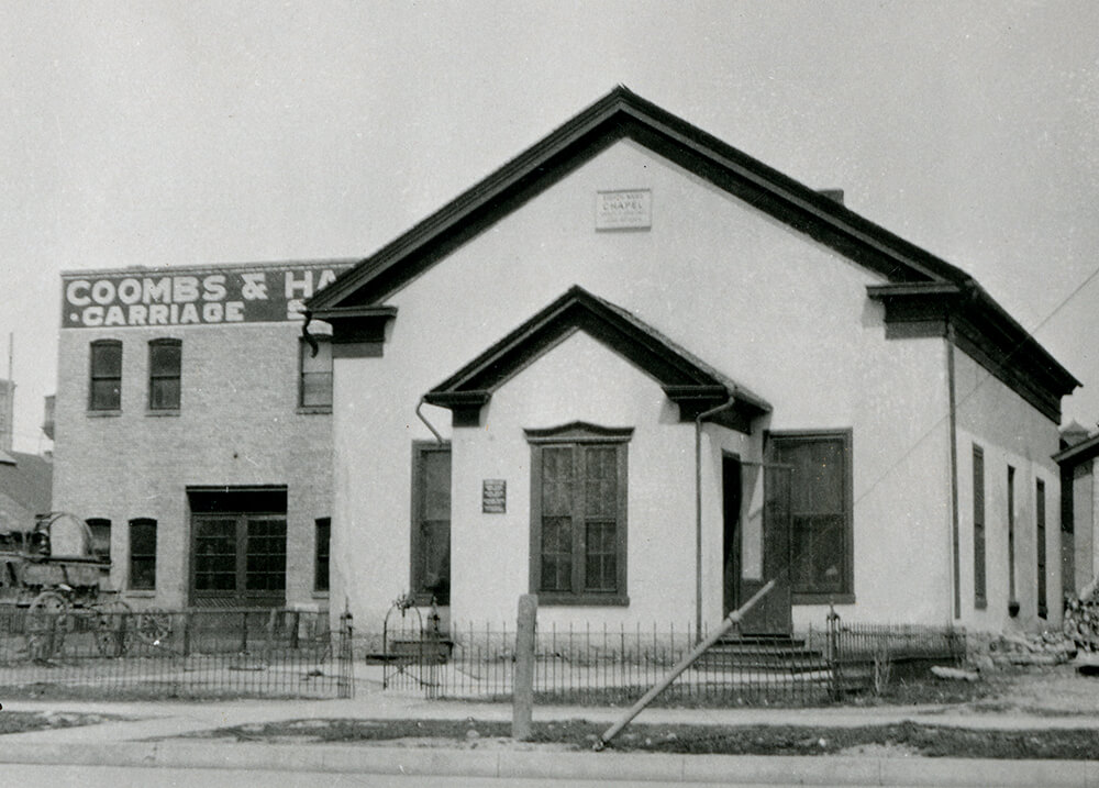 White, single-story chapel, Salt Lake City, Utah Territory, circa 1915