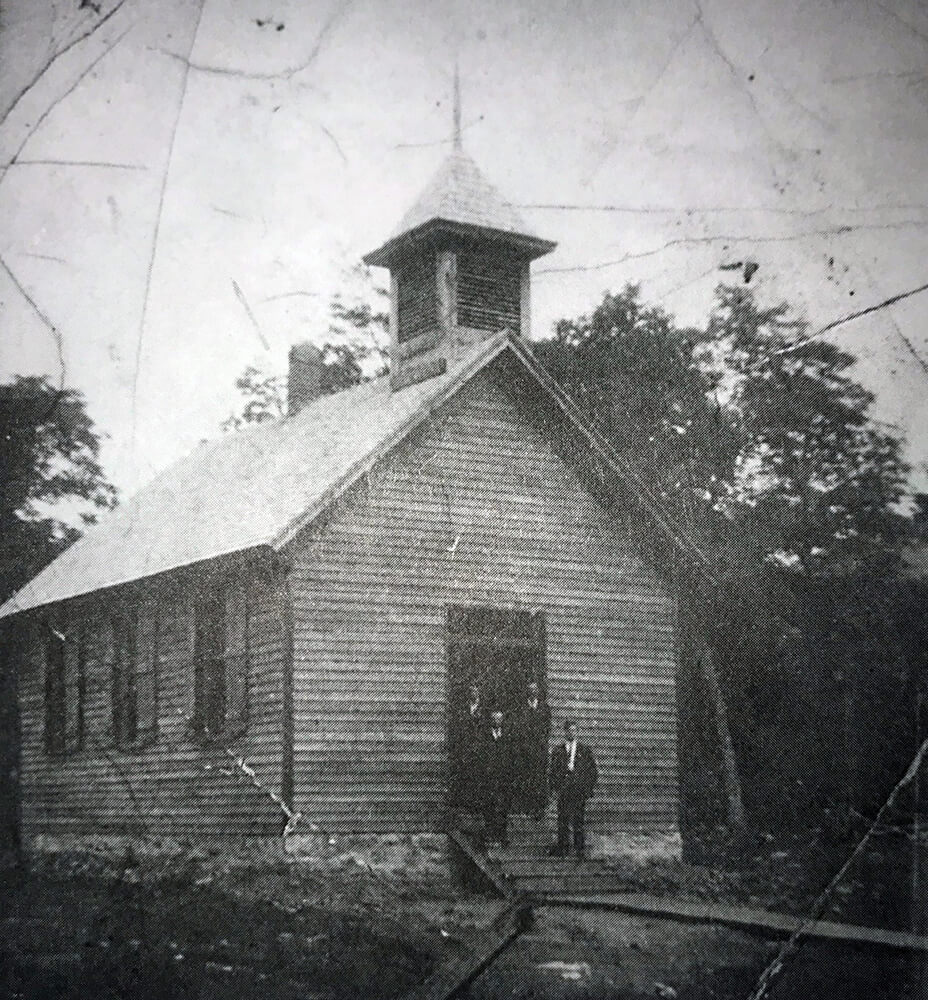 One-story, wood church with steeple