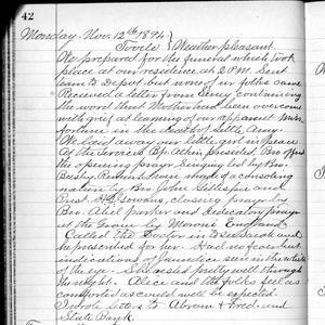 The 12 November 1894 entry in George F. Richards's journal gives an account of the funeral of Amy May Richards, the four-year-old daughter of George F. and Alice A. Robinson Richards. (Church History Library, Salt Lake City.)