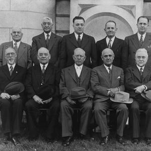 Seated, left to right: George Albert Smith, George F. Richards, Joseph Fielding Smith, Stephen L Richards, John A. Widtsoe, Joseph F. Merrill. Standing: Charles A. Callis, Albert E. Bowen, Harold B. Lee, Spencer W. Kimball, Ezra Taft Benson, Mark E. Petersen. (Church History Library, Salt Lake City. T47366)