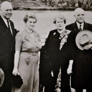 Left to right: Joel Richards, Georgina Felt, Betsy Hollings, George F. Richards. George and Betsy married on 20 July 1947. (Photograph provided by FamilySearch.org [https://www.familysearch.org/tree/person/details/KW8W-MCD; accessed 7 May 2019].)