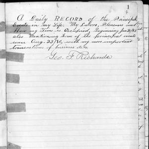 The first page of George F. Richards's first journal. (Church History Library, Salt Lake City.)