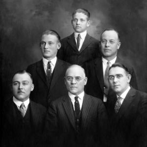 Front row, left to right: Joel Richards, George F. Richards, George Franklin Richards Jr. Middle row, left to right: Oliver L. Richards, LeGrand Richards. Back row: Ray Longstroth Richards. (Church History Library, Salt Lake City. PH 10303)