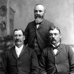 Left to right: Charles L. Anderson. Hugh S. Gowans, and George F. Richards. (Church History Library, Salt Lake City. PH2396)
