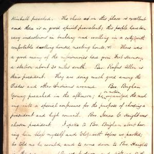 """Bro. Brigham … thanked the Lord for the wisdom the Lord He had given me already even in my youth, and that he would still continue to give me wisdom and I should be blessed in writing and publishing."" A transcript of the complete journal entry is available <a href=""/george-q-cannon/1850s/1855/05-1855#p12"">here</a>."