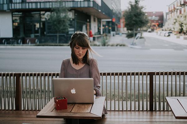 Girl at a laptop