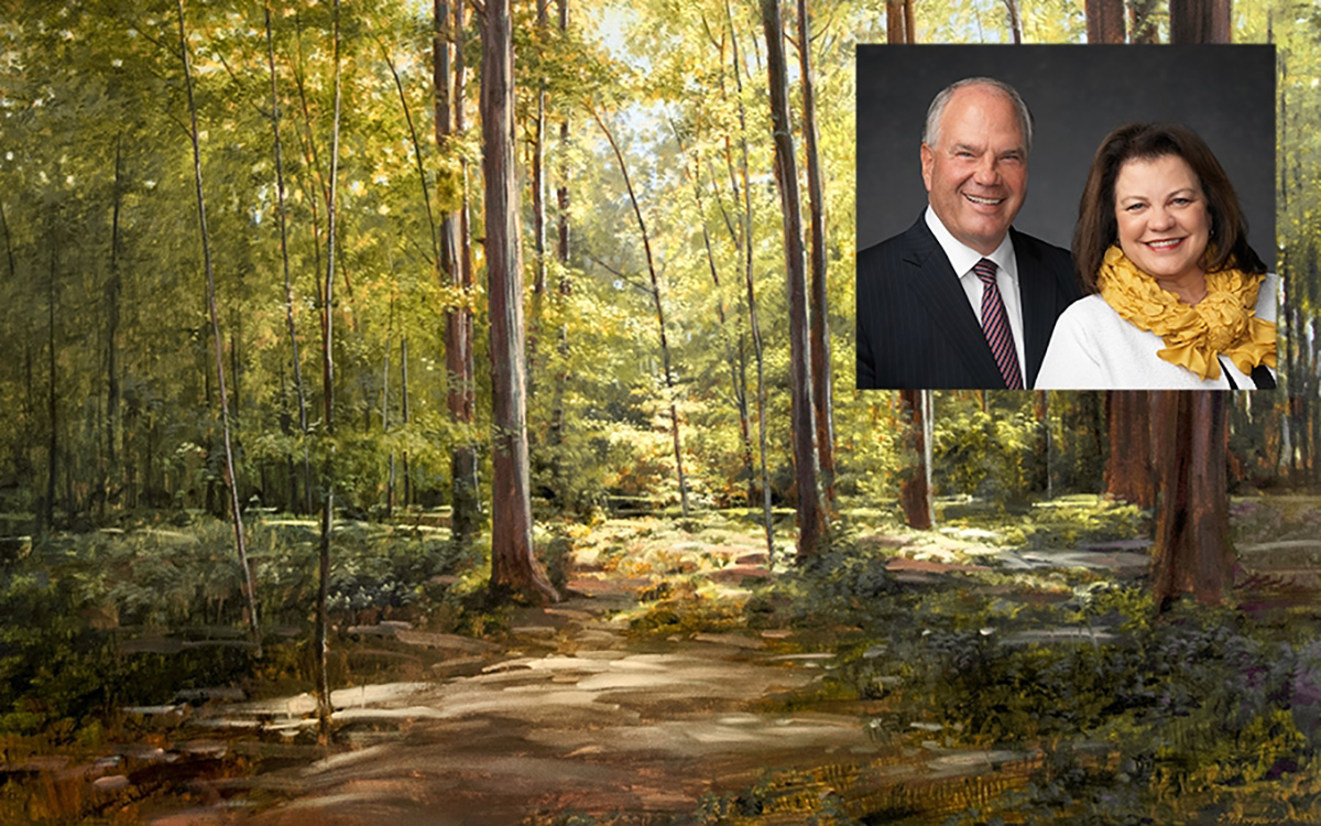 the sacred grove with an overlay of Elder and Sister Rasband's portrait